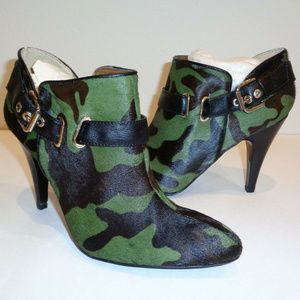 Nine West camo SAPPHEIR Green Leather Ankle Boots
